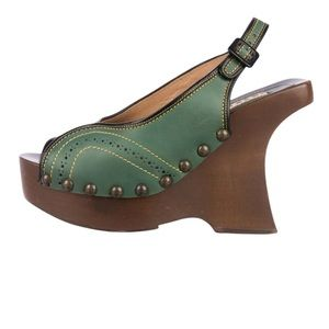 Marni Green Wooden Clogs